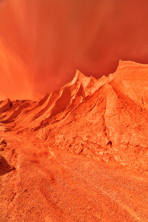 Fantastic space landscape in rusty orange shades photo