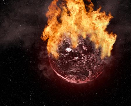 Burning cracked Planet Earth. Stock Photo - 26086823
