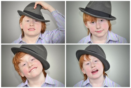 Portraits of a red haired boy in a grey hat, with different emotions photo