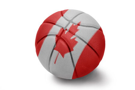 Basketball ball with the national flag of Canada on a white background photo