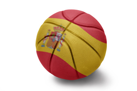 Basketball ball with the national flag of Spain on a white background photo