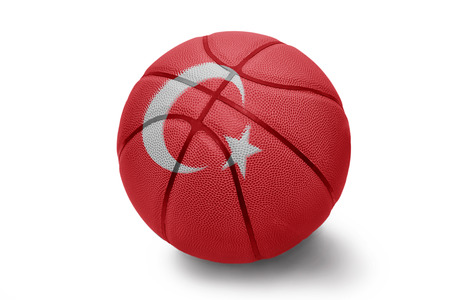Basketball ball with the national flag of Turkey on a white background photo