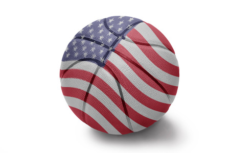 Basketball ball with the national flag of United States of America on a white background photo