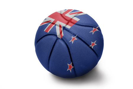 Basketball ball with the national flag of New Zealand on a white background photo
