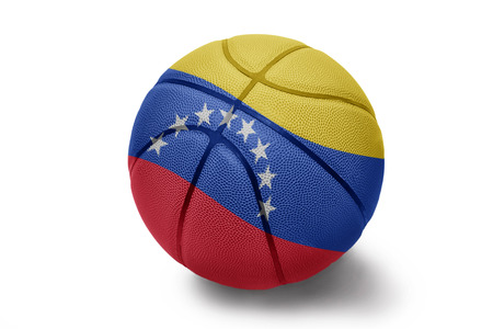 Basketball ball with the national flag of Venezuela on a white background photo