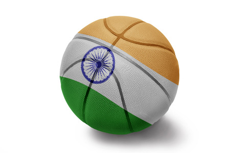 Basketball ball with the national flag of India  isolated on white  photo