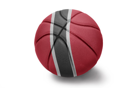 national flag trinidad and tobago: Basketball ball with the national flag of Trinidad and Tobago isolated on white