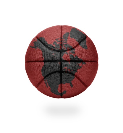 Basketball with the map of North America on white background photo
