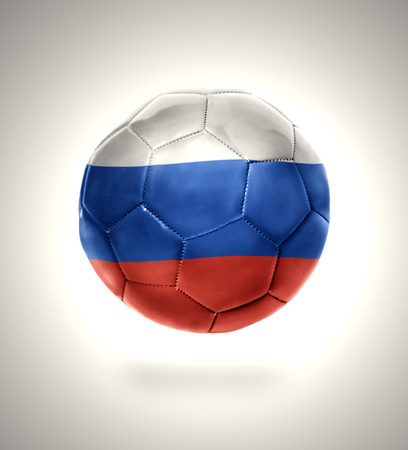 Football ball with the national flag of Russia on a gray background photo