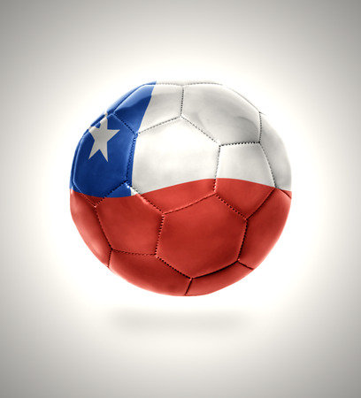 Football ball with the national flag of  Chile on a gray background Stock Photo