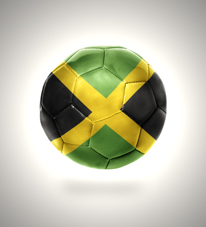 kingston: Football ball with the national flag of Jamaica on a gray background