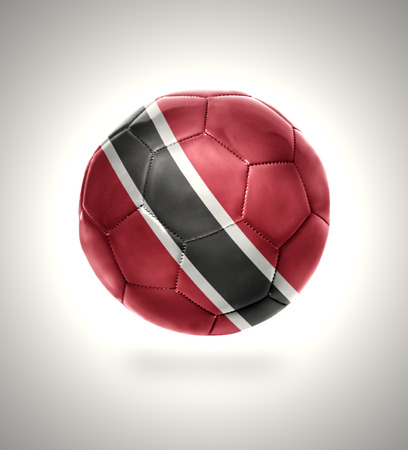 national flag trinidad and tobago: Football ball with the national flag of Trinidad and Tobago on a gray background