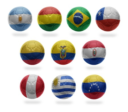 Football balls with the national flags of  Argentina, Bolivia, Brazil, Chile, Colombia, Ecuador, Paraguay, Peru, Uruguay, Venezuela  on a white background photo