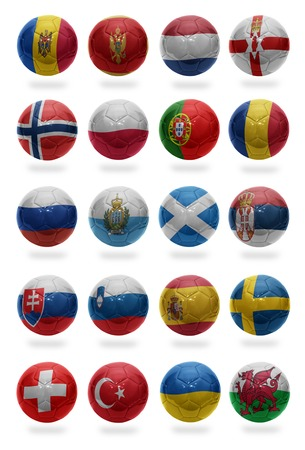 Football balls with the national flags of Spain, Serbia, Russia, Netherlands, Wales, Ukraine, Turkey, Switzerland, Sweden, Slovenia, Slovakia, Scotland, San Marino, Romania, Portugal, Poland, Norway, Northern Ireland, Montenegro, Moldova on a white backgr photo