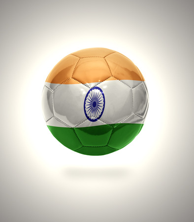 Football ball with the national flag of India on a gray background photo