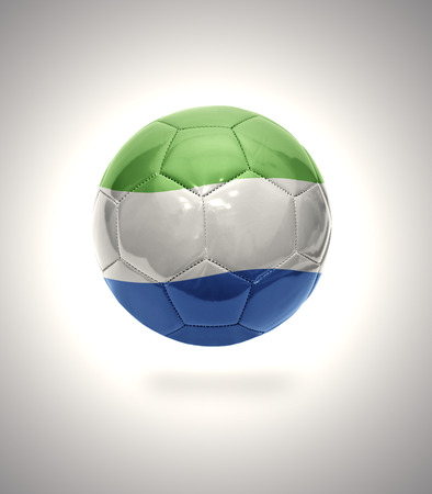 Football ball with the national flag of Sierra Leone on a gray background photo