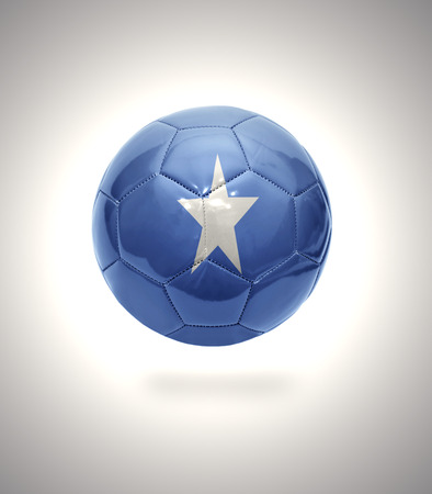 somalian flag: Football ball with the national flag of Somalia on a gray background