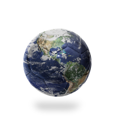 Football ball with the image of planet earth on white background    photo
