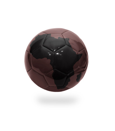 Football ball with the map of Africa on white background photo
