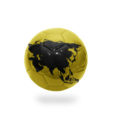 Football ball with the map of Asia on white background photo