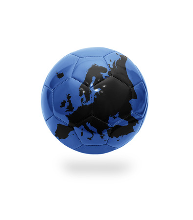 Football ball with the map of Europe on white background photo