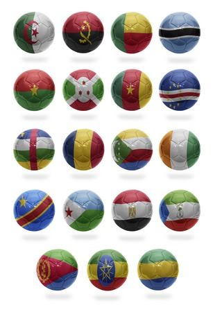 Football balls with the national flags of African countries from A to G on a white background photo