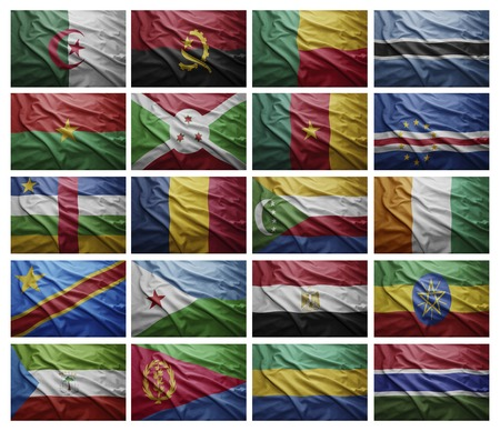 Waving Flags of African countries from A to G , Collage photo