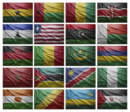 Waving Flags of African countries from G to S, Collage photo