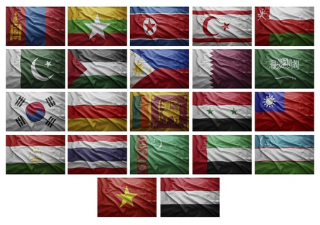 Waving Flags of Africancan countries from M to Y, Collage photo