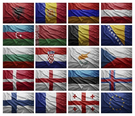 Waving Flags of European countries from A to G, Collage photo