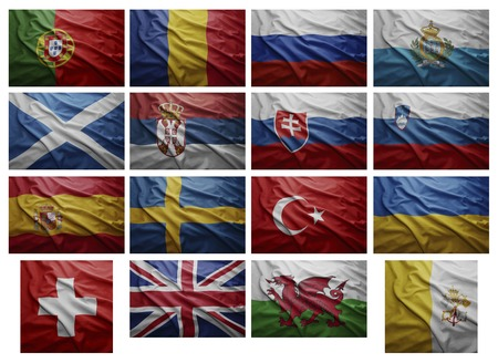 Waving Flags of European countries from P to V, Collage photo