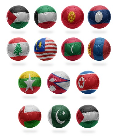 Football balls with the national flags of Asian countries from J to P on a white background photo
