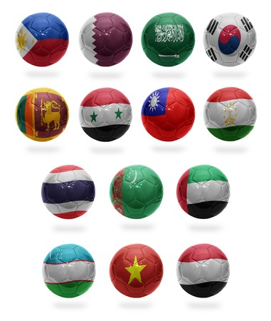 Football balls with the national flags of Asian countries from P to Y on a white background photo