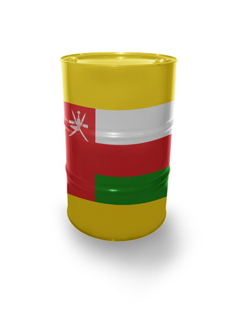 fuel provider: Oil barrel with Omani flag on the white background