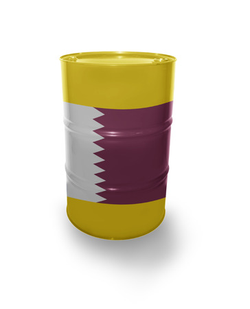 fuel provider: Oil barrel with Qatar flag on the white background