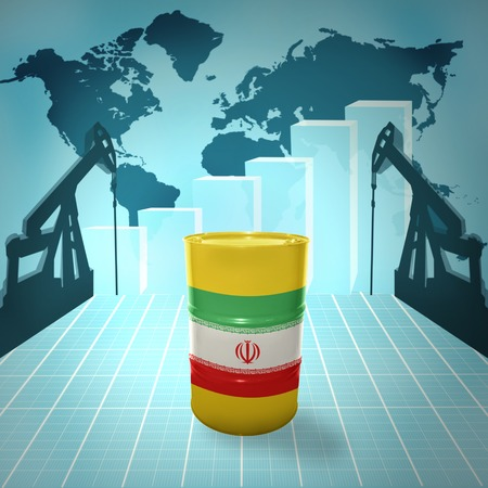fuel provider: Oil barrel with Iranian flag on the background of the world map with oil derricks and growth chart Stock Photo