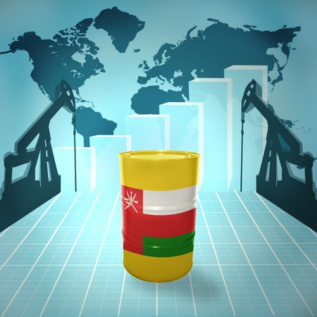 fuel provider: Oil barrel with Omani flag on the background of the world map with oil derricks and growth chart Stock Photo