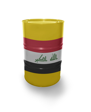 fuel provider: Barrel with Iraqi flag on the white background