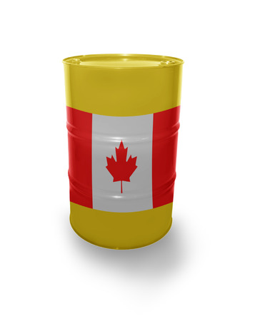 fuel provider: Barrel with Canadian flag on the white background Stock Photo