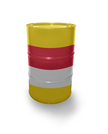 fuel provider: Barrel with Indonesian flag on the white background Stock Photo