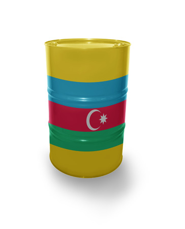 fuel provider: Barrel with Azerbaijan flag on the white background