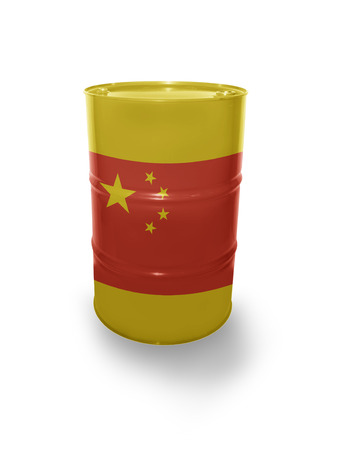fuel provider: Barrel with Chinese flag on the white background