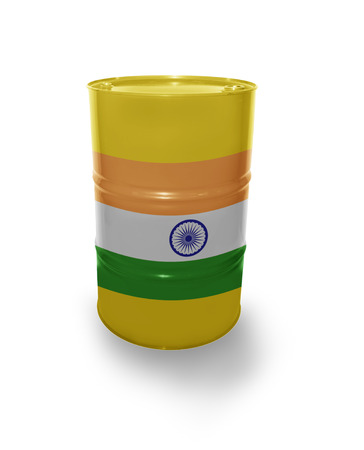 fuel provider: Barrel with Indian flag on the white background