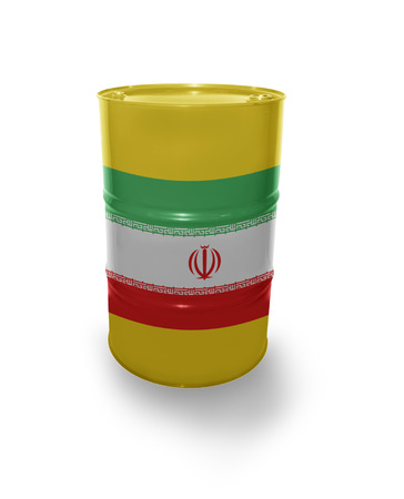 fuel provider: Barrel with Irani flag on the white background