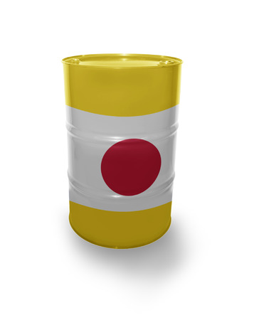 fuel provider: Barrel with Japanese flag on the white background