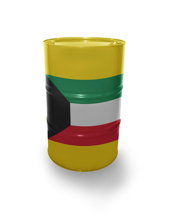 fuel provider: Barrel with  flag on the white background Stock Photo