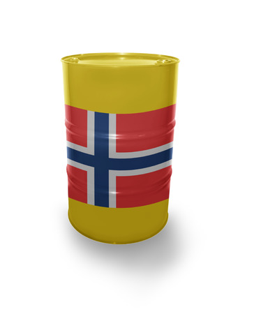 fuel provider: Barrel with Norwegian flag on the white background