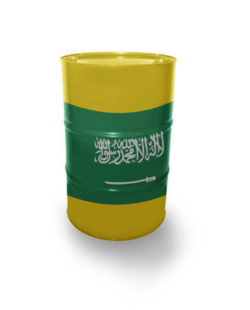 fuel provider: Barrel with Saudi Arabia flag on the white background Stock Photo