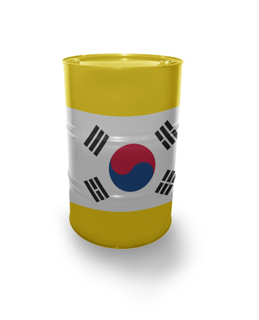 fuel provider: Barrel with Korean flag on the white background Stock Photo