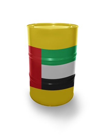 fuel provider: Barrel with United Arab Emirates flag on the white background Stock Photo